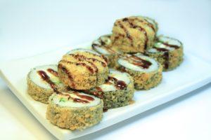 91 Азия 195 руб. (Лосось жаренный, сливочный сыр, огурец, лист салата,соус кабояки) 10шт 210 гр. 210 Ккал на 100 гр
